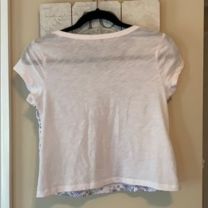 Express Tops - Express Blue and White Decorative Tee Sz XS